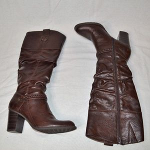 White Mountain Brown Heeled Boots